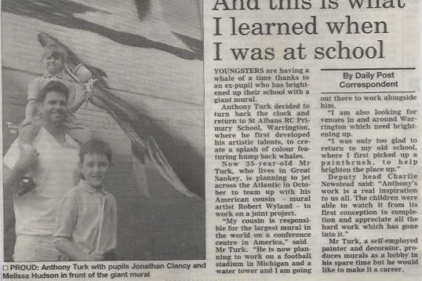 newspaper cutting of school mural in Warrington