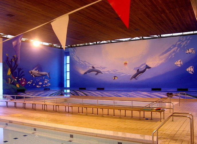 Airbrush mural at a swimming pool by apinkeye