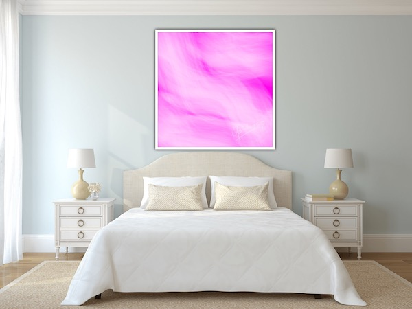 Digital abstract painting pink & white