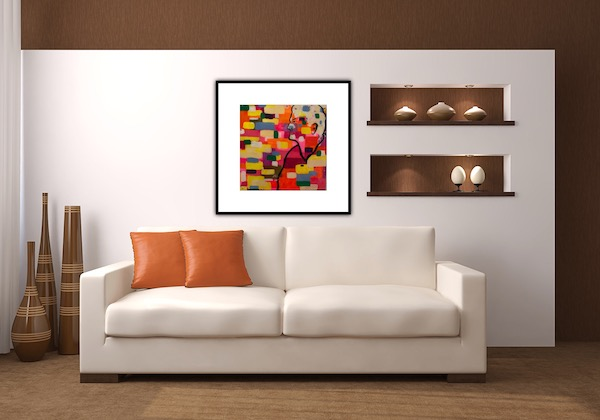 Abstract painting mult coloured still life
